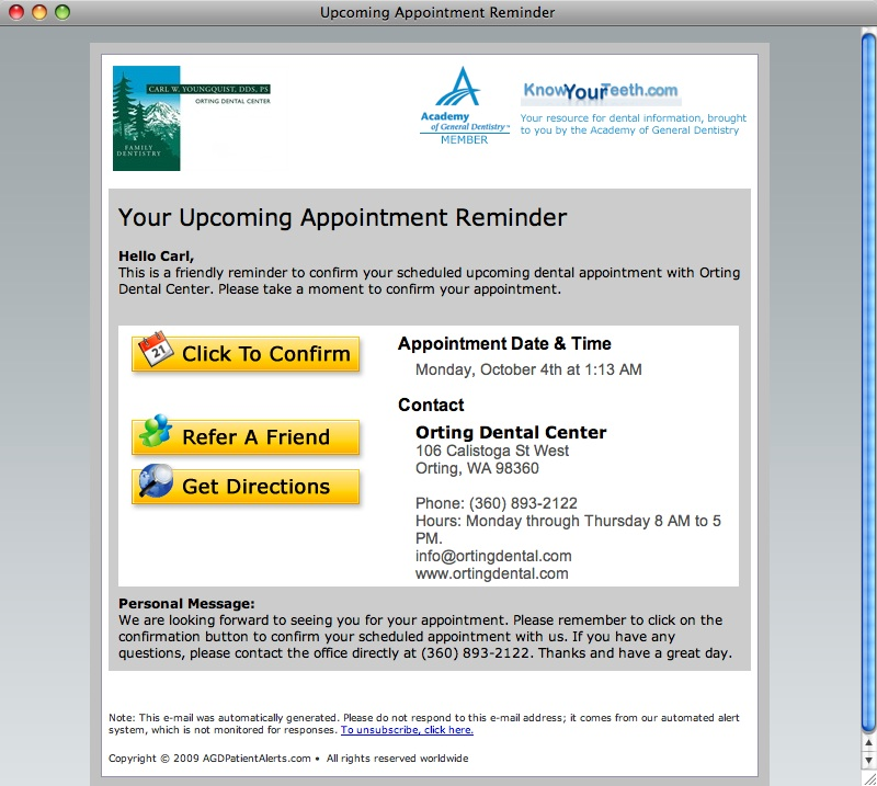 Example of email appointment reminder